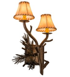"""12""""W Lone Pine 2 Lt Right Wall Sconce"""