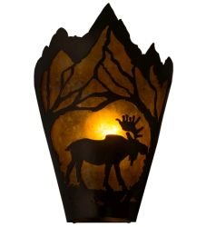"""8""""W Moose At Dawn Right Wall Sconce"""