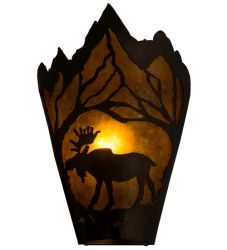 """8""""W Moose At Dawn Left Wall Sconce"""