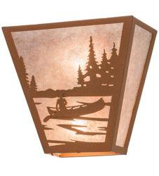 "13""W Canoe At Lake Wall Sconce"