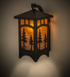 "8""W Tall Pines Curved Arm Hanging Wall Sconce"