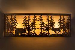 "36""W Tall Pines W/Bear & Deer Wall Sconce"
