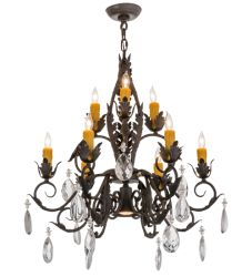 """26""""W New Country French 9 Lt Chandelier"""