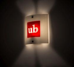 "11""Sq Metro Fusion Personalized Ub Logo Wall Sconce"