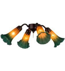 "19""W Amber/Green Pond Lily 4 Lt Fan Light"