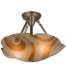 "17.5""W Metro Fusion Cognac Swirl Semi-Flushmount"