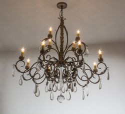 """50""""W New Country French 12 Lt Chandelier"""