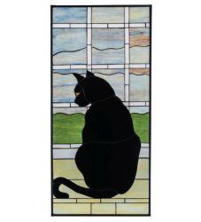 "20""W X 42""H Cat In Window Stained Glass Window"