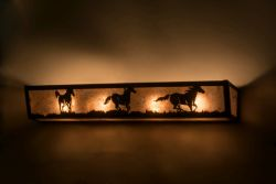 "30""W Running Horses Vanity Light"