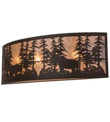 "36""W Tall Pines W/Bear & Moose Wall Sconce"