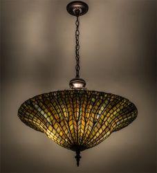 """24""""W Tiffany Lotus Leaf Inverted Pendant"""
