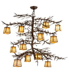 "48""W Pine Branch Valley View 12 Lt Chandelier"