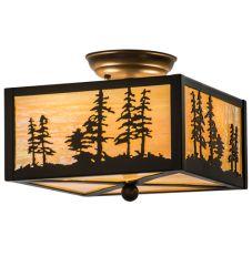 "10""Sq Tall Pines Flushmount"
