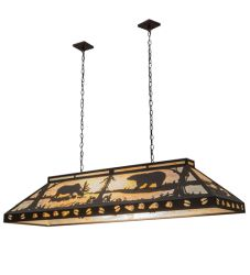 "61""L Moose & Black Bear Oblong Pendant"