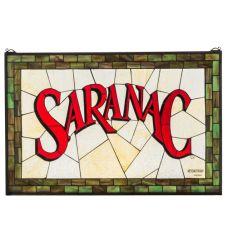"""32""""W X 21""""H Saranac Stained Glass Window"""