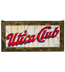 """35""""W X 17""""H Utica Club Stained Glass Window"""