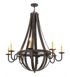 "48""W Barrel Stave Metallo 8 Lt Chandelier"