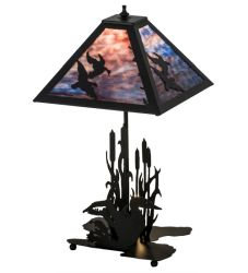 "21""W Ducks In Flight W/Lighted Base Table Lamp"