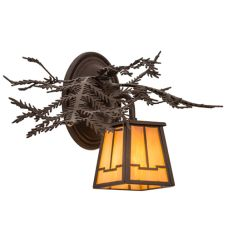 "16""W Pine Branch Valley View Left Wall Sconce"