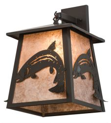 """15""""W Stillwater Leaping Trout Hanging Wall Sconce"""