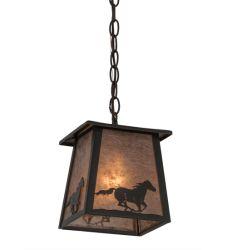 "7""Sq Running Horse Lantern Pendant"
