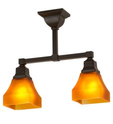 """17""""L Bungalow Frosted Amber 2 Lt Semi-Flushmount"""