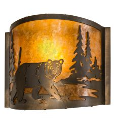 """11""""W Northwoods Lone Bear Right Wall Sconce"""