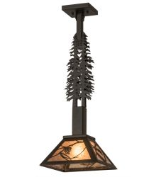 """10""""Sq Whispering Pines Tall Pines Pendant"""