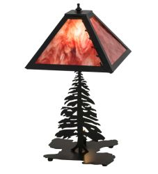 "21""H Leafs Edge Tall Pines W/Lighted Base Table Lamp"