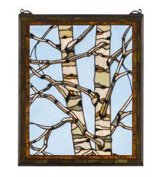 "24""W X 19""H Birch Tree In Winter Stained Glass Window"