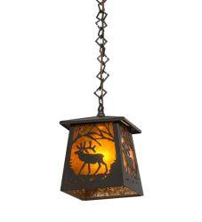 """7""""Sq Elk At Dawn Mini Pendant"""