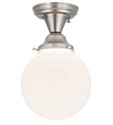 """8""""W Revival Schoolhouse White Globe Flushmount"""