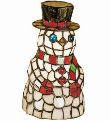 "8.5""H Snowman Tiffany Glass Accent Lamp"
