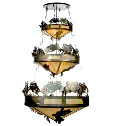 """58""""W Catch Of The Day Bass 3 Tier Inverted Pendant"""