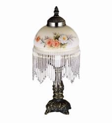 "8""H Rose Bouquet Fringed Mini Lamp"