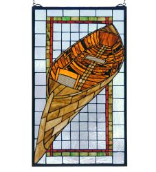 """15""""W X 25""""H Guideboat Stained Glass Window"""