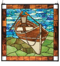 """26""""W X 26""""H Beached Guideboat Stained Glass Window"""