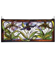 """30""""W X 13""""H Lady Slippers Stained Glass Window"""