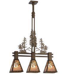 """30""""L Winter Pine Tall Pines 3 Lt Island Pendant"""