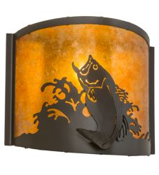 """12""""W Leaping Bass Wall Sconce"""