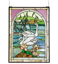 "22""W X 30""H Swans Stained Glass Window"