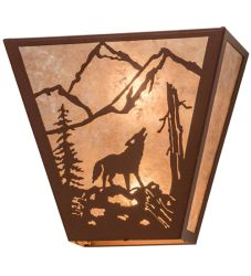 "13""W Northwoods Wolf On The Loose Wall Sconce"