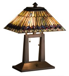 "20""H Tiffany Jeweled Peacock Oblong Desk Lamp"