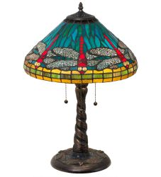 "21""H Tiffany Dragonfly W/ Twisted Fly Mosaic Base Table Lamp"