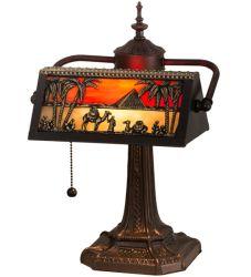 """15.5""""H Camel Mission Banker'S Lamp"""