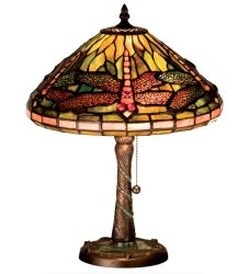 "16""H Tiffany Dragonfly W/ Twisted Fly Mosaic Base Accent Lamp"