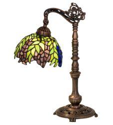 """19""""H Tiffany Honey Locust Bridge Arm Desk Lamp"""