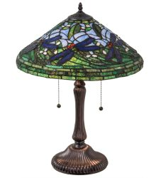 """24""""H Tiffany Flying Dragonfly Table Lamp"""