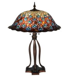 """30""""H Tiffany Peacock Feather Table Lamp"""