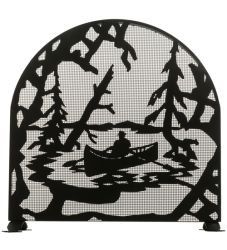 "30""W X 30""H Canoe At Lake Arched Fireplace Screen"